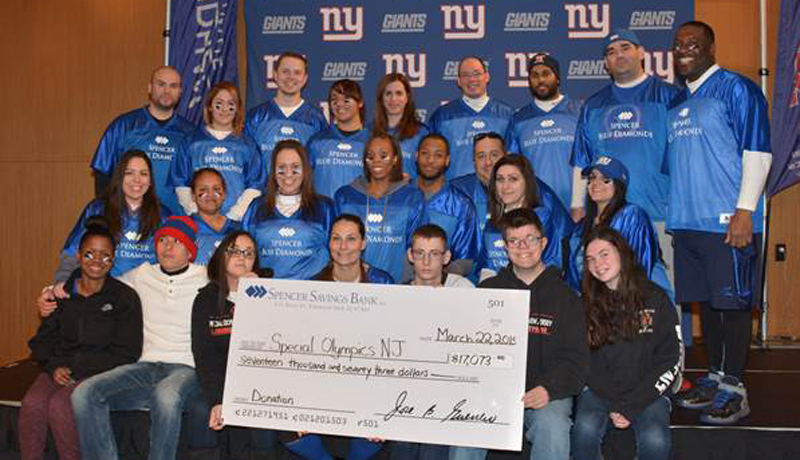 spencers blue diamonds score big at new york giants snow bowl fundraiser