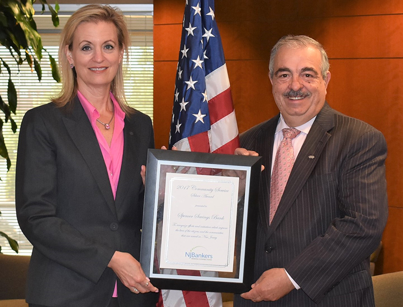 Spencer Savings Bank Receives NJBankers Award for Community Service